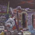 """""""The potter's kiln"""" Prismacolour pencils on blk paper"""