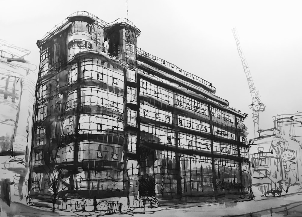 Bauhaus Daily Express building Manchester from Great Ancoats Street.