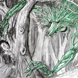 The Green Man.   A3 sketchbook.  Mixed media.