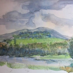 view across the River Urr - with added pen