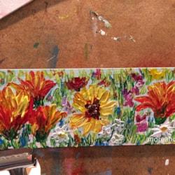 WIP - palette knife wildflowers