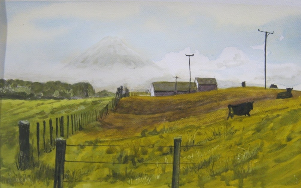 """Cloud rising on Mount Taranaki""       line , watercolour , and gouache"