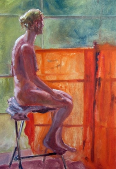 Study at Holt 2. Painted from life at an intense week with a group of pro artsists I managed to be invited to by mistake really, Did enjoy the hard work, all in oils from life with at least 2 models in different studios, nude or clothed. All day work, 3