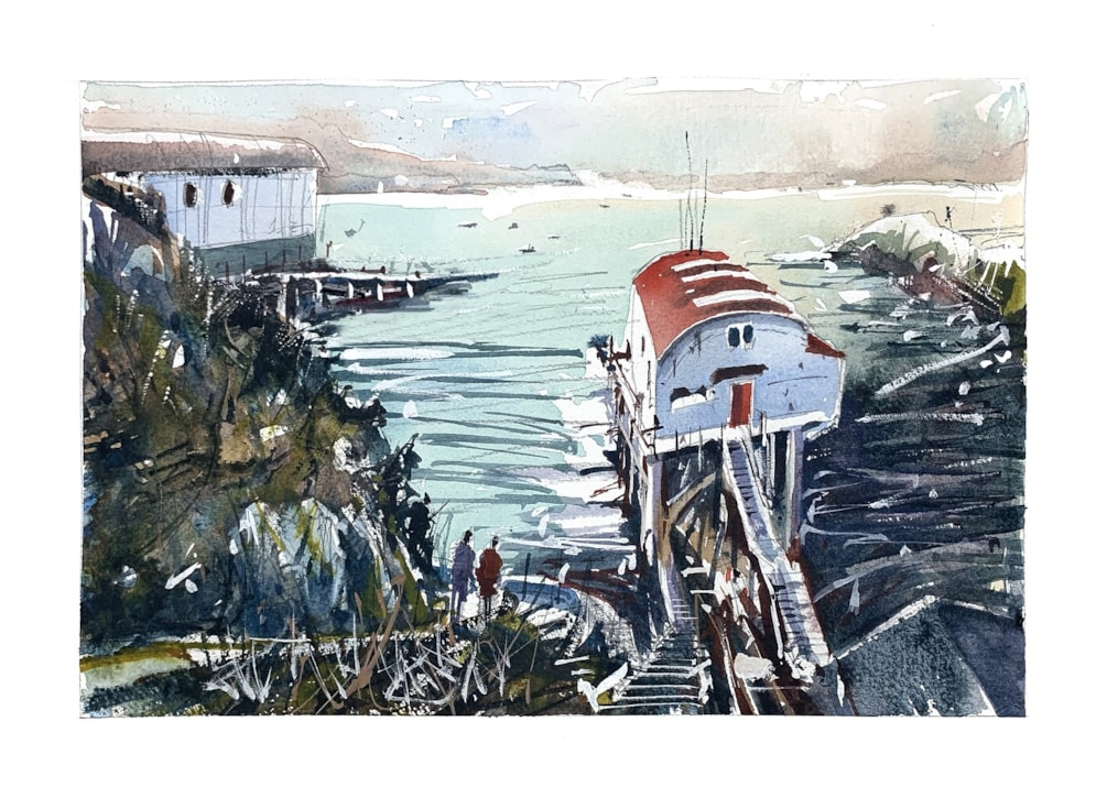 Porthstinian Lifeboat Station watercolour