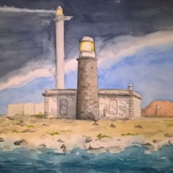 The ancient and the modern Lighthouse, Playa Blanca Lanzarote
