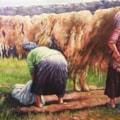 women wash wool