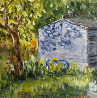 "'Hose pipes at the allotments' 6"" X 6"" oil on board"