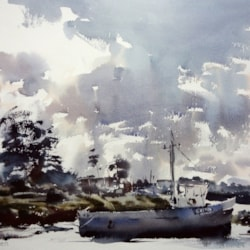 On the mud at Brancaster Staithe.  31 x 51cm