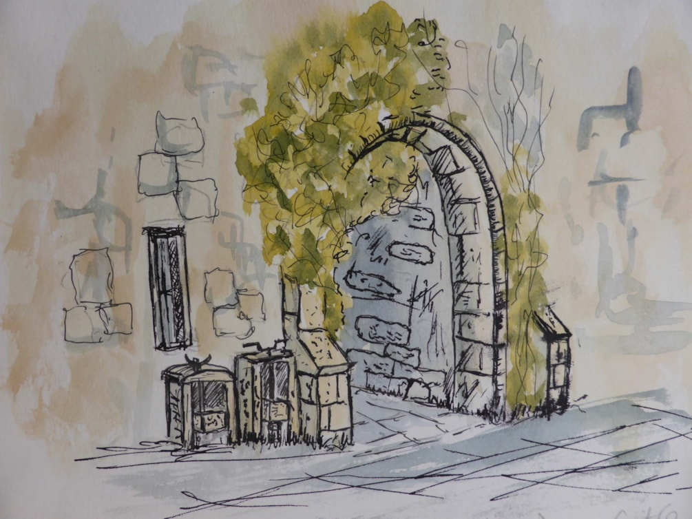 Cheese Presses Drum Castle, sketch pen and wash