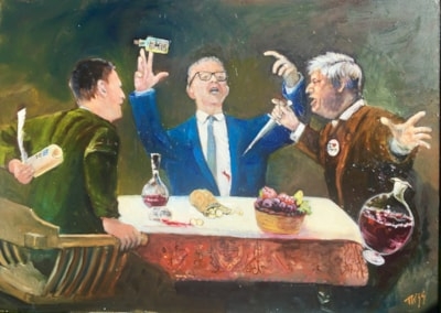 "Greed is the root of all Evil, Supper of betrayers, oil on 28"" by 20"" board"