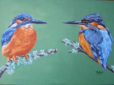 Kingfishers, No3. 2016. Acrylic on canvas board, 35x25cm.