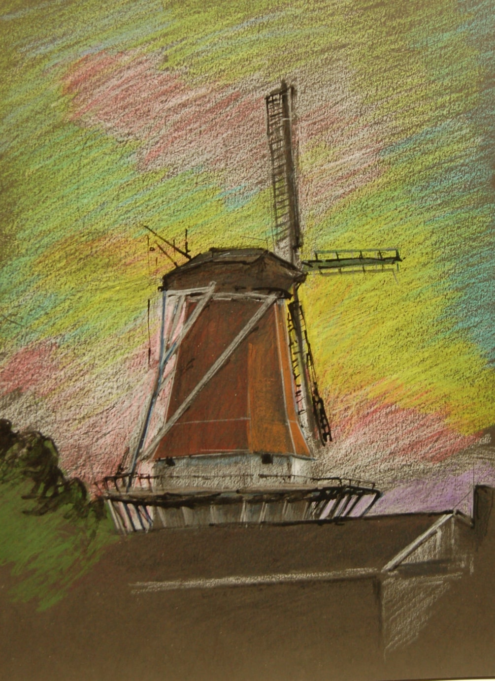 """""""The Dutch mill at Foxton """"  coloured pencil and ink onto black paper."""