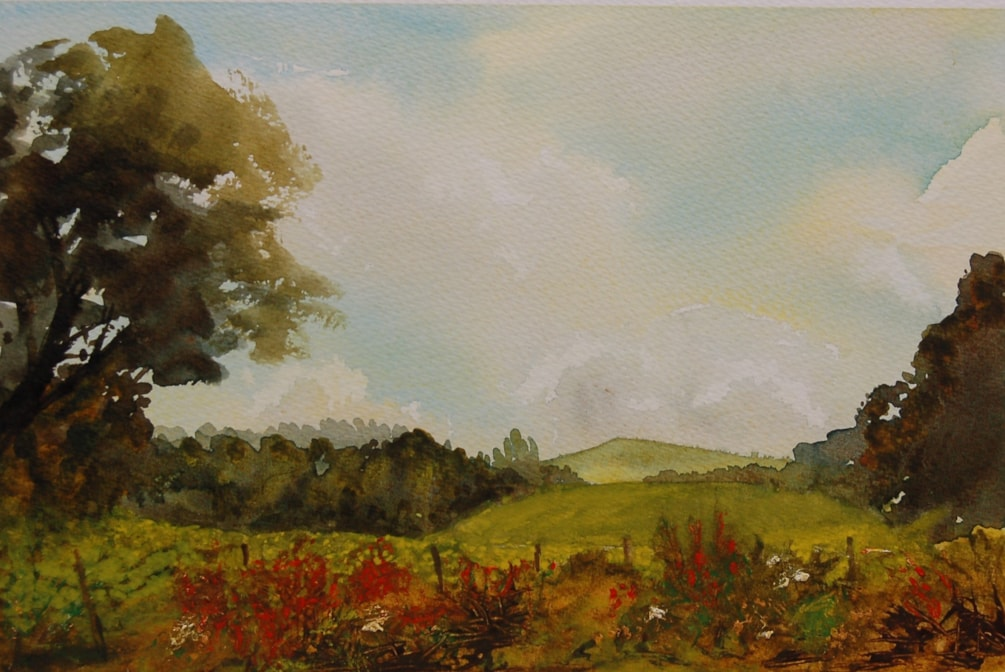 """""""The brassica paddock and the ubiquitous montbretia """" mixed media"""