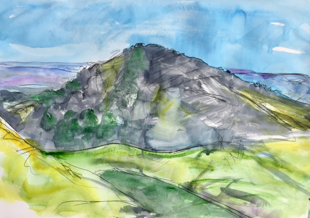 Plein Air today - Hen cloud seen from Ramshaw rocks, conte and watercolour on A2