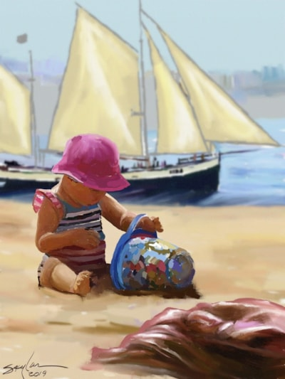 Playing in the sand, Passing Sailboat