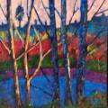 'Radipole Lake - Weymouth - First Light' - acrylic on canvas - 50x50cms