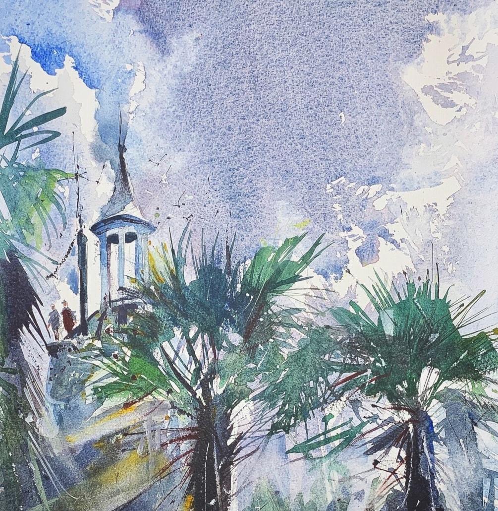 Portmeirion Palm trees, watercolour