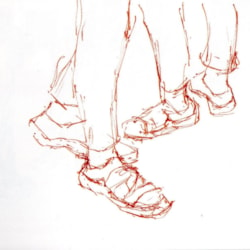 Sketch of Lowri's shoes at Tate Modern