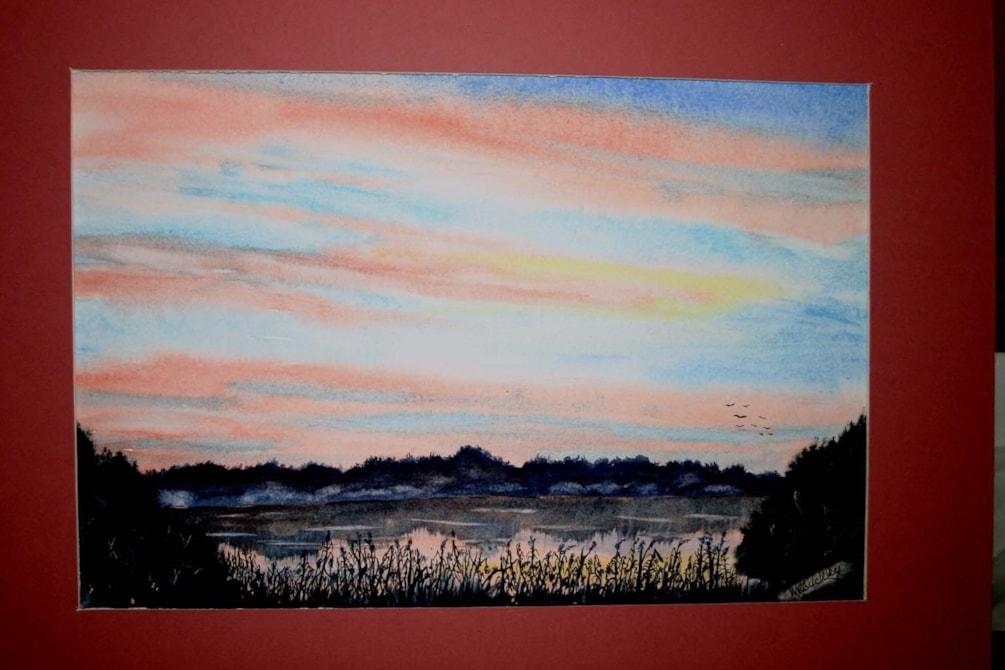 "Sunset Frensham Big Pond, watercolour 12x8"""