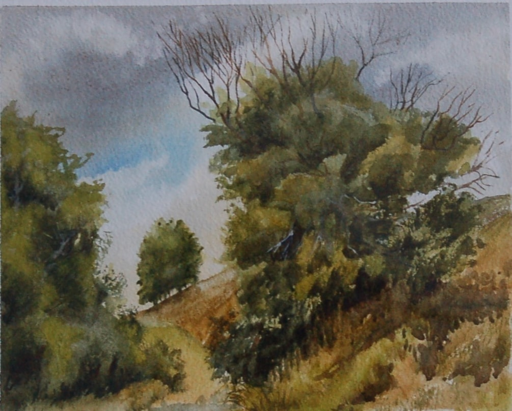 """""""Two's company , trees a crowd""""  in water colour."""