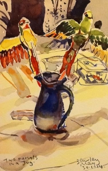 Two Parrots in a Jug