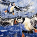Flying Puffins mixed media