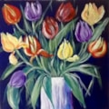 "TESCO TULIPS.  I so admire botanical paintings beautifully observed , recorded lovingly  ,, with painstaking detail .  I just cannot do it .  So my bunch of Tesco tulips stuffed in a pot and loved for their exuberance is my ""take"" on flower"