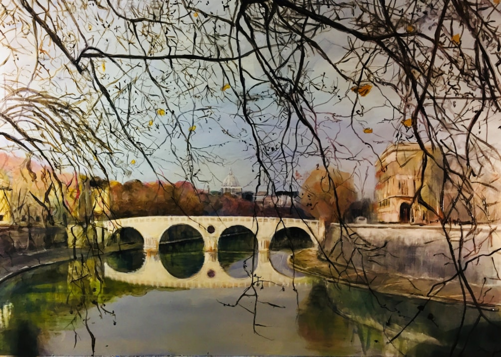 Ponte Sisto in Rome with St Peters in the background. Acrylic on A1 board