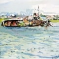 Sinking boat at Shoreham