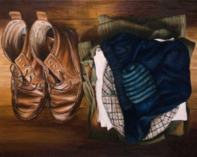 """'Mark's clothes' (2016) 16"""" x 20"""" Oil mixed with a small amount of Mark's ashes on linen."""