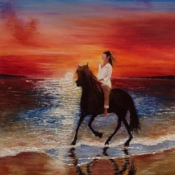 Dawn ride along Alnmouth Beach