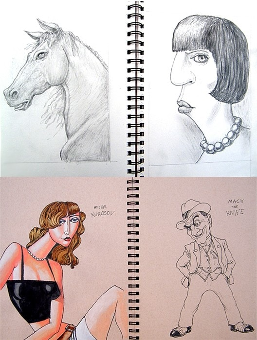 Sketches from A4 sketchbooks.