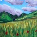 Poppy on hillside