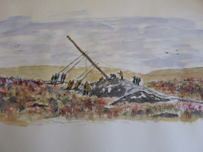 Raising Stanage Pole. Dip pen and wash sketch