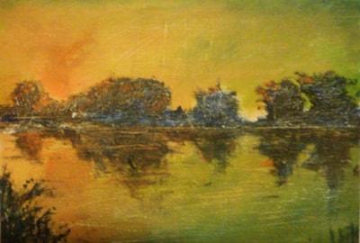Glow before dawn at the lake