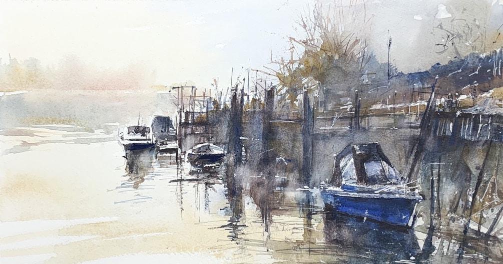 Misty Arun, Arundel, watercolour