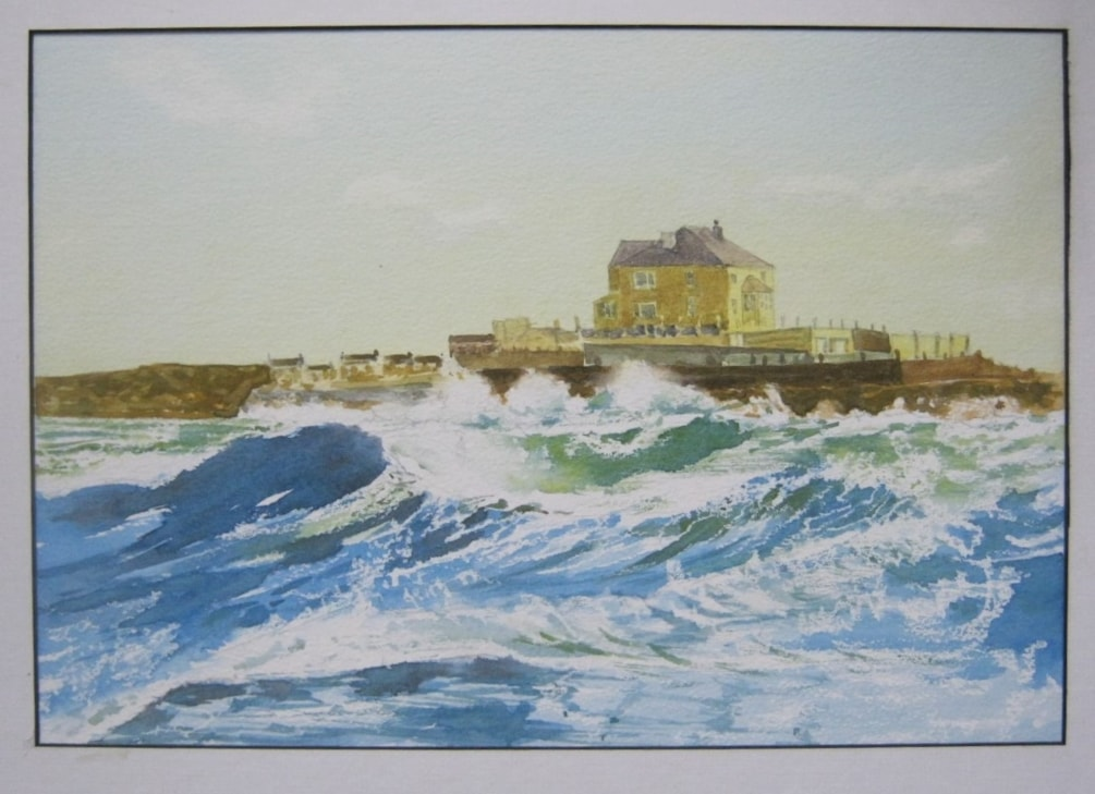 """Breaking waves at Amble"" in watercolour."