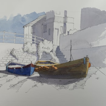 Boats on the Beck, Staithes
