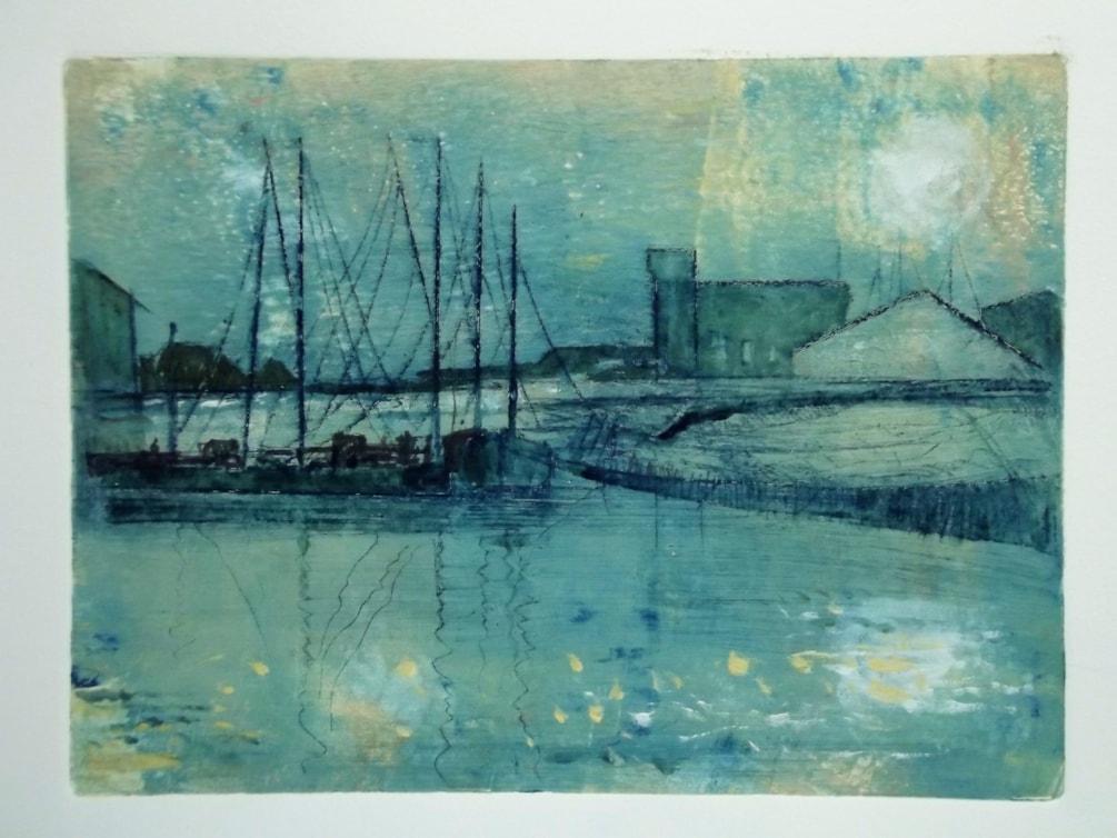 Etching + Monoprint - Barges at Faversham Creek.