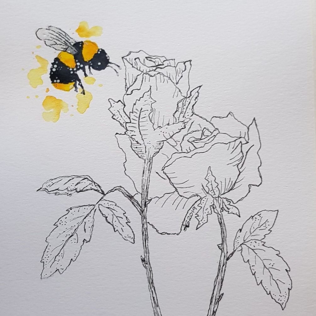 2 roses and the Bee