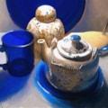 My Morning Tea - Tea pot (I bought in 1964), Grandma's Tea Jar (1920) and a modern mug.