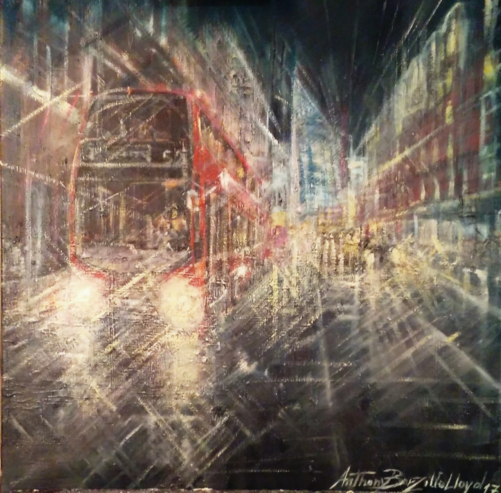 Vauxhall Bridge Road by night, London