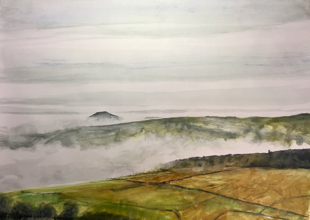 Rolling mist over Gradbach hill with Shutlingsloe in the distance. Ink on A2