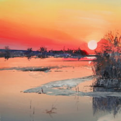 Sunset on Dnepr River