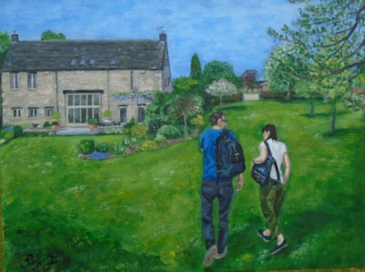 Surveying their new home....    (a house warming gift to the couple portrayed)