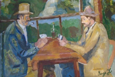 After Cezanne - The Card Players ( practising techniques.. my interpretation)