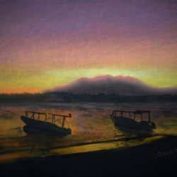 SUNSET - (somewhere on this planet) - Pastel on black mountboard.