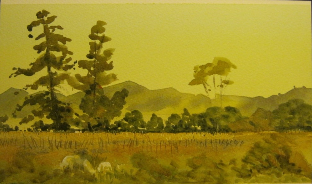 """Maize paddocks , Turakina Valley""  water colour"