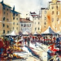 The Amphitheatre in Lucca, Italy. Plein air