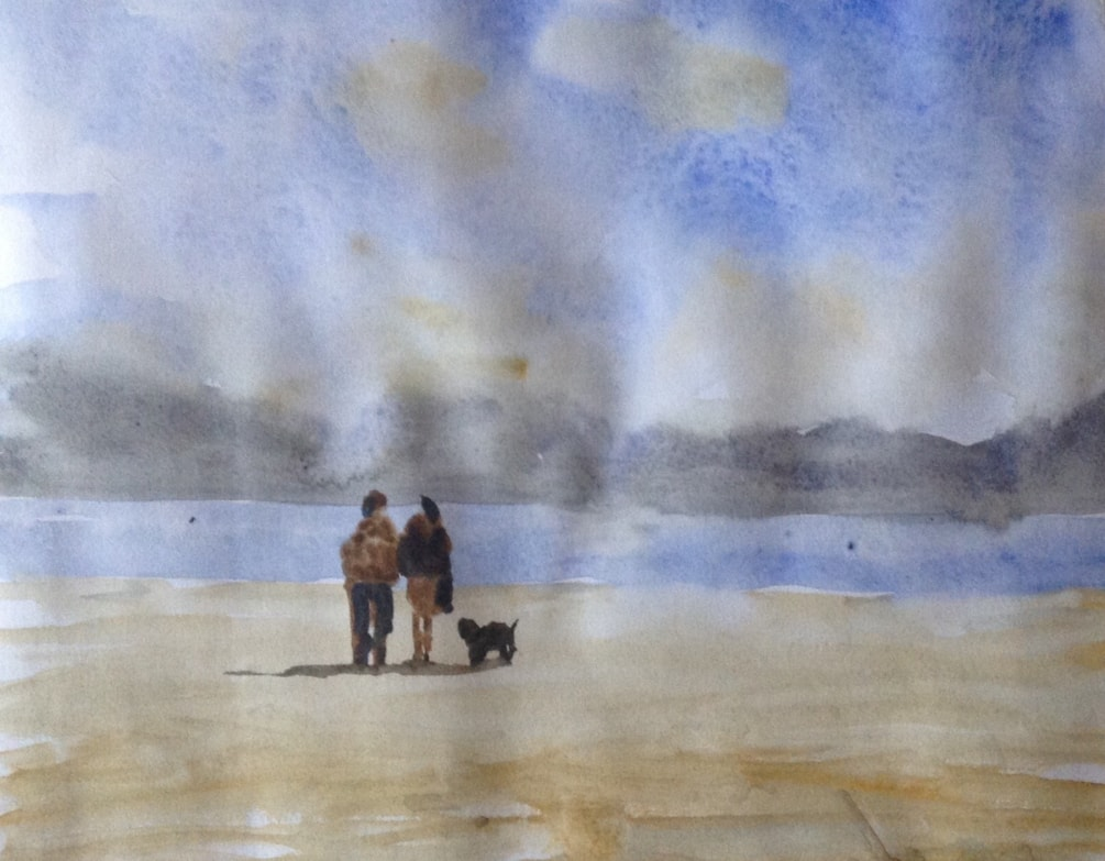 'On the beach'